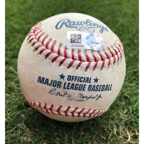 Photo of Game-Used Baseball - Joey Gallo Walk/Nomar Mazara RBI Double (18) - 7/4/19