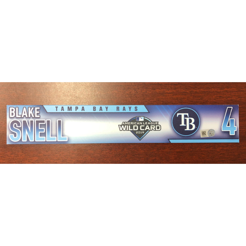 Photo of Game Used A.L. Wild Card Locker Tag: Blake Snell - First Career Post Season Game