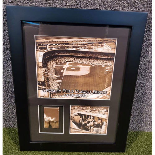 Photo of Framed Piece of Crosley Field Dugout Bench (Number 8 of 150)