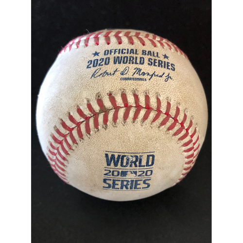 Photo of Game-Used Baseball - 2020 World Series - Los Angeles Dodgers vs. Tampa Bay Rays - Game 3 - Pitcher: Charlie Morton, Batter: Mookie Betts (RBI Single) - Top 4