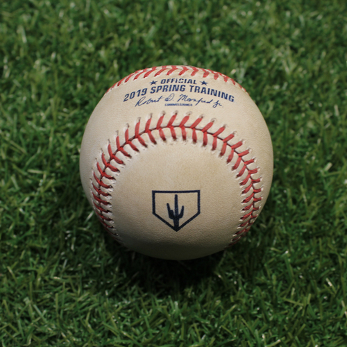 Game-Used Baseball: Ellis - Stolen Base Wild Throw  (KC @ OMA 3/25/19)