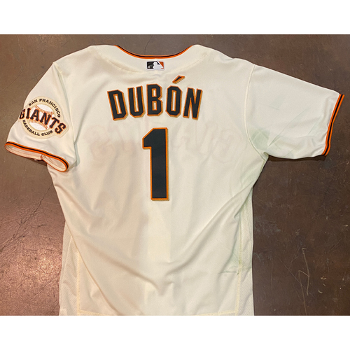 Photo of 2021 Game Used Home Cream Jersey worn by #1 Mauricio Dubon on 4/9 vs. COL - Home Opening Day, 4/10 vs. COL - 0-2, BB, 4/11 vs. COL & 4/12 vs. CIN - Size 44