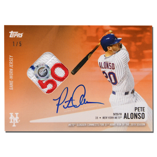Photo of Pete Alonso #20 - Autographed Limited Edition of 5 Orange Topps Card - Features Authenticated Game Used Jersey from 2019 Rookie of the Year Campaign - Alonso Hits 51st HR on 9/25/19