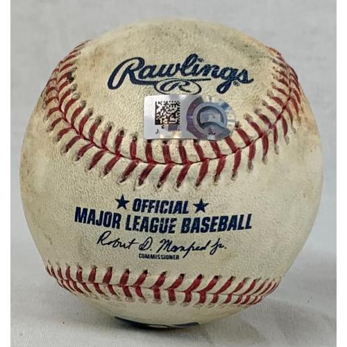 Photo of 2019 Game-Used Baseball - Pitcher: Justin Verlander, Batter: JD Martinez - Career Strikeout #'s 2799 & 2800 - Top 2 - 5/26/19