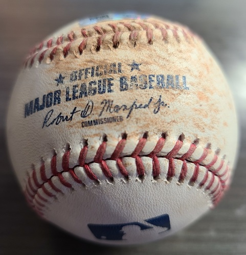 Photo of Authenticated Game Used Baseball: Single by Derek Hill against Hyun Jin Ryu (Aug 21, 2021 vs DET). Top 1.