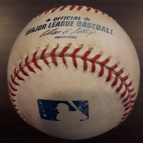 Photo of Authenticated Game Used Baseball - May 15, 2013: Buster Posey Hit by Pitch against Ramon Ortiz (Top 1)