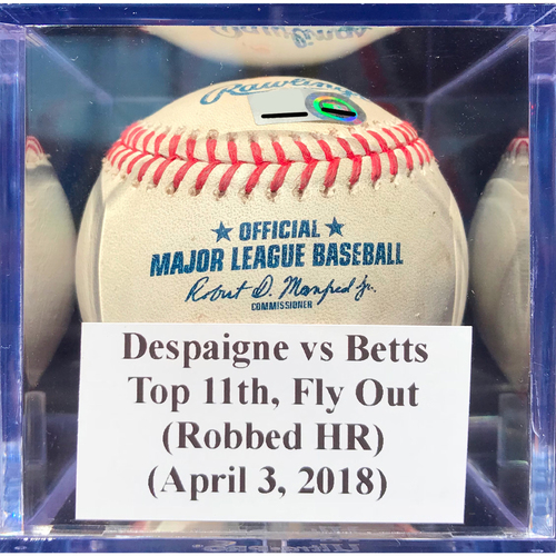 Photo of Game-Used Baseball: Despaigne vs Betts (BOS), Top 11th, Fly Out (April 3, 2018) *Lewis Brinson Robbed HR*