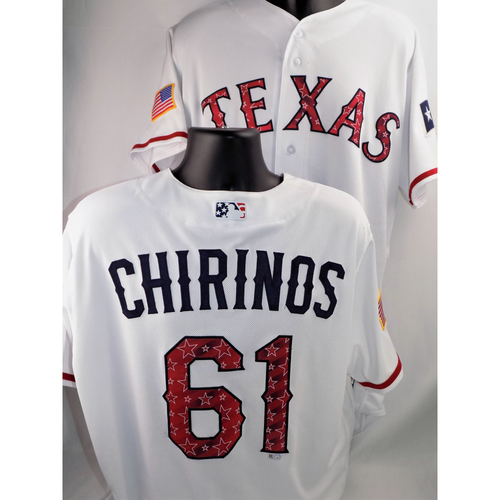 Photo of Robinson Chirinos Game-Used Stars & Stripes Jersey - 7/3/2018 and 7/4/2018 (worn Innings 1-2)  - Size 46