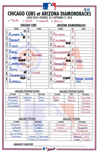 Photo of Game-Used Lineup Card -- Hendricks 12th Win (8.2 IP, 1 ER, 8 K) -- Bryant 12th HR -- Baez 32nd HR -- Cubs at Diamondbacks -- 9/17/18