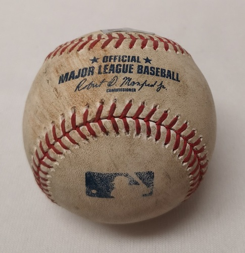 Photo of Authenticated Game Used Baseball - Aaron Hicks 3 RBI Double against Marco Estrada (June 1, 2017 vs NYY). Top 1.
