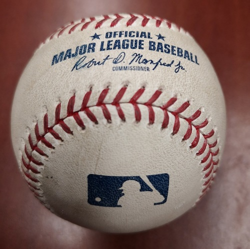 Photo of Authenticated Game Used Baseball - Single by Luke Maile against Kelvin Herrera (May 11, 2019 vs CWS). Bottom 8.
