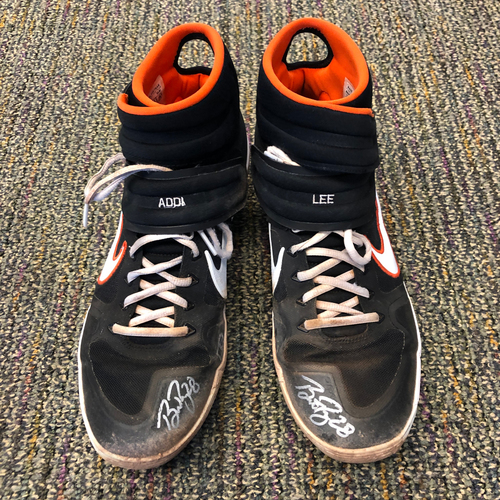 Photo of Buster Posey BP28 Foundation - 2019 Game Used & Autographed Cleats used & signed by #28 Buster Posey on 6/12 vs. SD - Size 11.5