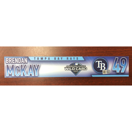Photo of Game Used A.L. Wild Card Locker Tag: Brendan McKay - First Career Post Season Game