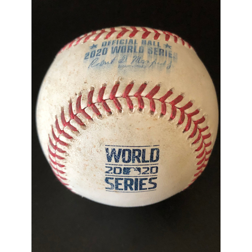 Photo of Game-Used Baseball - 2020 World Series - Los Angeles Dodgers vs. Tampa Bay Rays - Game 3 - Pitcher: Brusdar Graterol, Batter: Willy Adames (Called Strike, 100.7 MPH Pitch, Ground Out, 101.5 MPH Pitch) - Bot 8