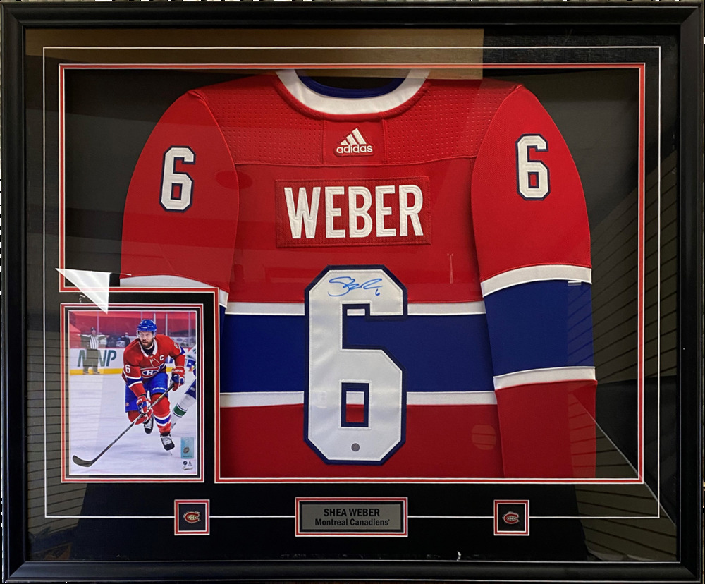 Shea Weber Signed Jersey Framed Canadiens Red Pro Adidas 2020-2021
