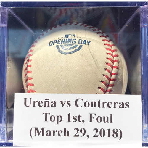 Photo of Game-Used Baseball: Ureña vs Contreras (CHI), Top 1st, Foul (March 29, 2018)