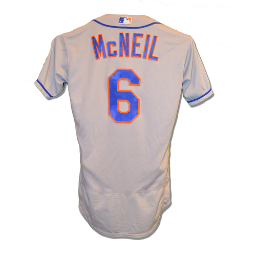 Jeff McNeil #6 - Game Used Road Grey Jersey - 2-3, BB, R - Mets vs. Phillies - 4/17/2019