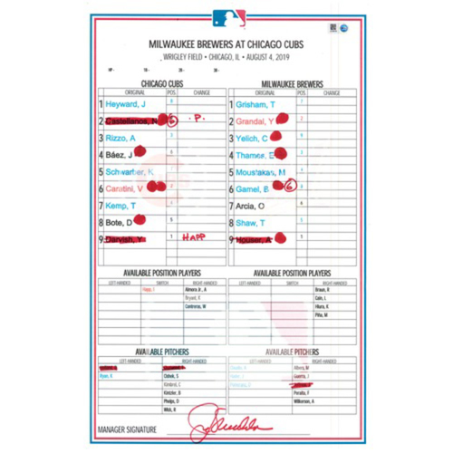 Photo of Game-Used Lineup Card -- Darvish 4th Win (5 IP, 1 ER, 8 K) -- Heyward 17th HR, Schwarber 25th HR -- Brewers vs. Cubs -- 8/4/19