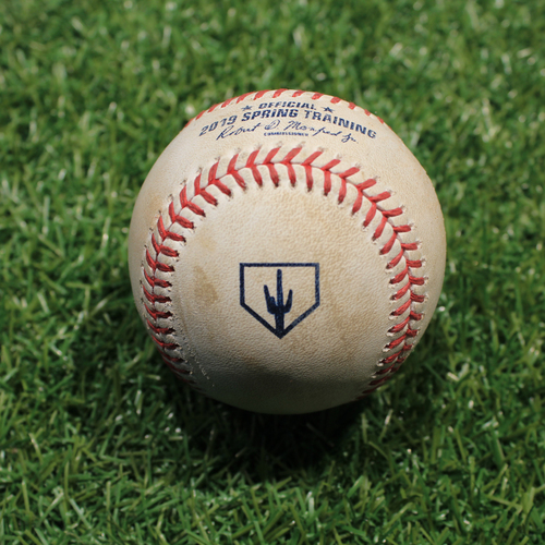 Photo of Game-Used Baseball: Peralta - Pick Off Attempt to 2nd (KC @ OMA 3/25/19)