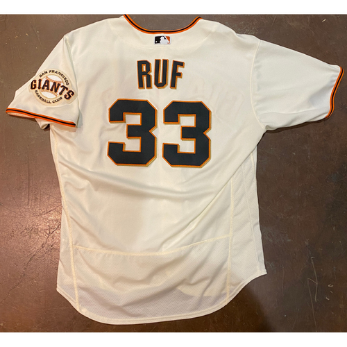 Photo of 2021 Game Used Home Cream Jersey worn by #33 Darin Ruf on 4/9 vs. COL - Home Opening Day - 0-2, BB, R - 4/10 vs. COL - PH, 4/11 vs. COL - PH & 4/12 vs. CIN - Size 48