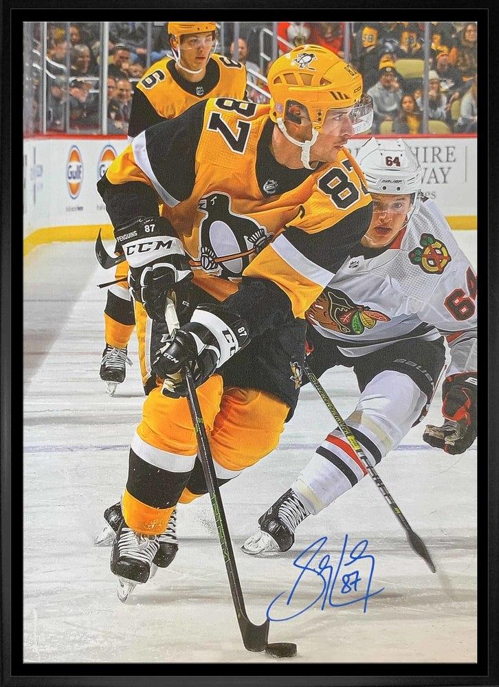 Sidney Crosby Signed 20x29 Canvas Framed Penguins Gold