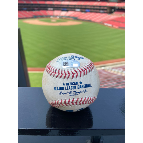 Photo of Cardinals Authentics: Game Used Pitched Baseball by Jordan Yamamoto to Matt Carpenter and Paul Goldschmidt *Carpenter Single, Goldschmidt Single*