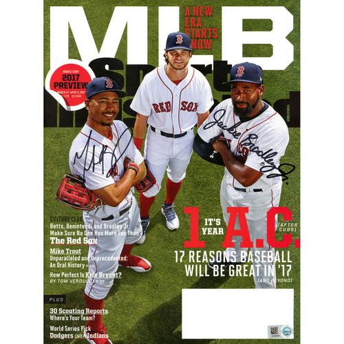 Photo of Mookie Betts and Jackie Bradley Jr Boston Red Sox Autographed Sports Illustrated 2017 Preview Magazine