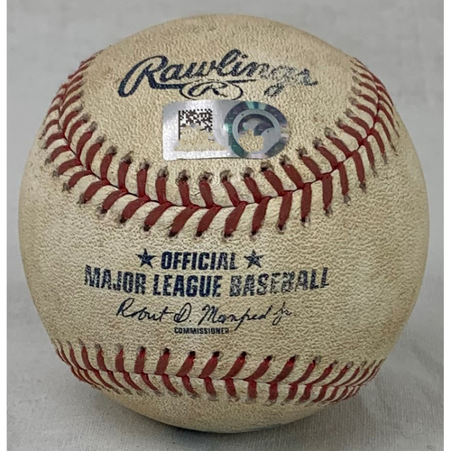 Photo of 2021 Game-Used Baseball - Pitcher: Jon Gray, Batter: Michael Brantley - RBI Double - Bottom 5 - 8/10/21