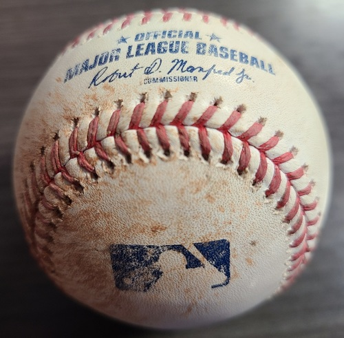 Photo of Authenticated Game Used Baseball: Single by Marcus Semien against Wily Peralta (Aug 21, 2021 vs DET). Bottom 3.