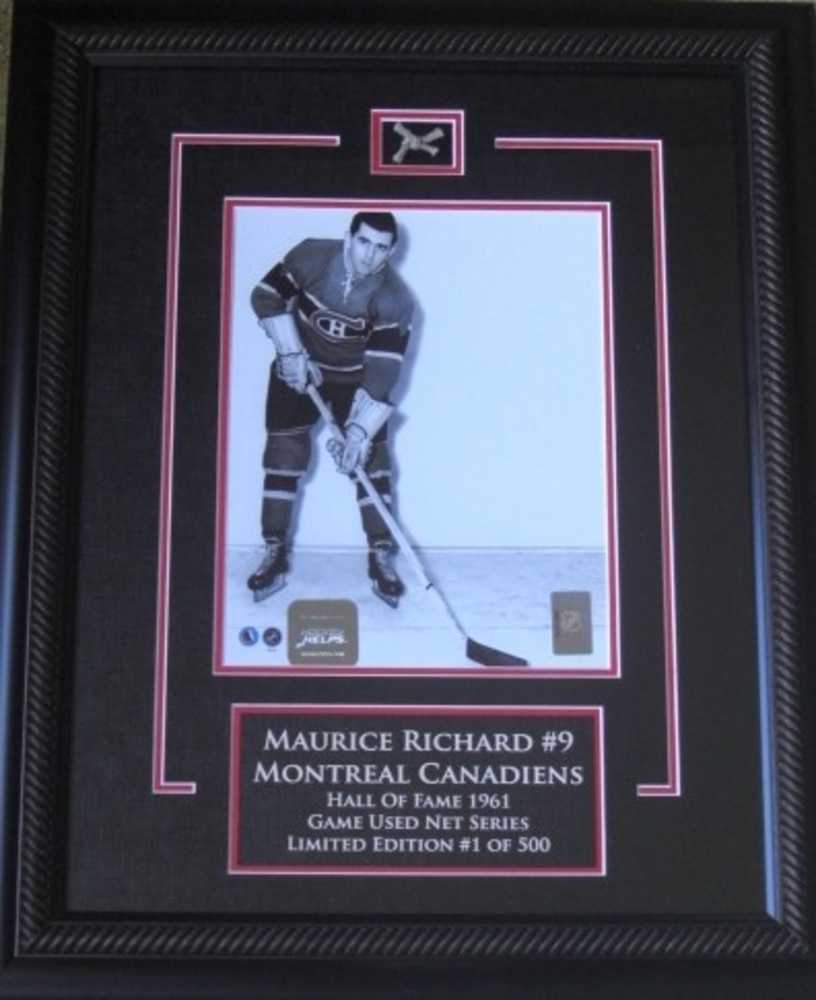 Maurice Richard Montreal Canadiens POSE 8x10 Limited Edition GAME USED net series