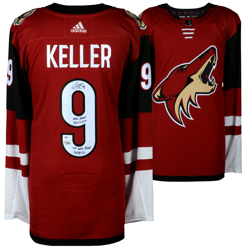 Clayton Keller Arizona Coyotes Autographed Red Adidas Authentic Jersey with Multiple Inscriptions - #1 in a L. E. of 9