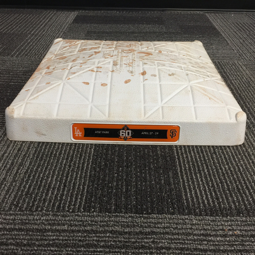Photo of 2018 San Francisco Giants - Game Used Base vs. Los Angeles Dodgers on April 29, 2018 - 3rd Base from Innings 1-3