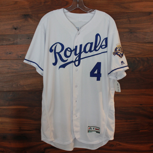 Photo of Game-Used Jersey: Alex Gordon 1,460th and 1,461st Career Hits, 662nd Career RBI (Size 46 - CLE @ KC - 9/29/18)