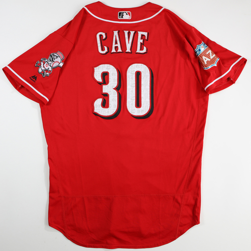 Photo of 2016  Spring Training -  Spring Training Used Jersey - Jake Cave (Reds) - Size 46