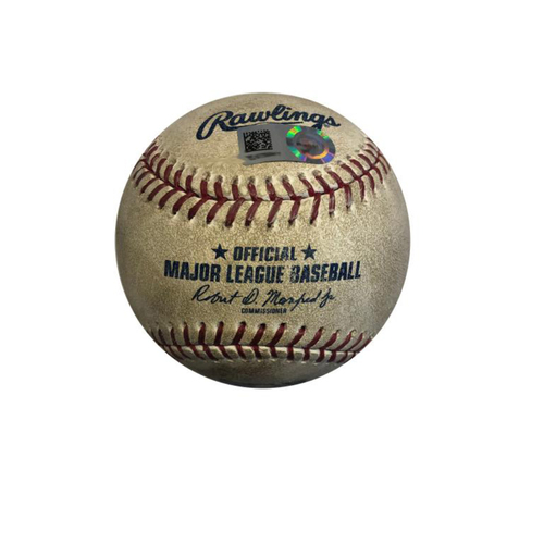 Photo of Pittsburgh Pirates Game Used Baseball: Pitcher: Nick Kingham, Batter: Brendan Rodgers (Double, 4th Career Hit) - 5-22-2019 vs. COL