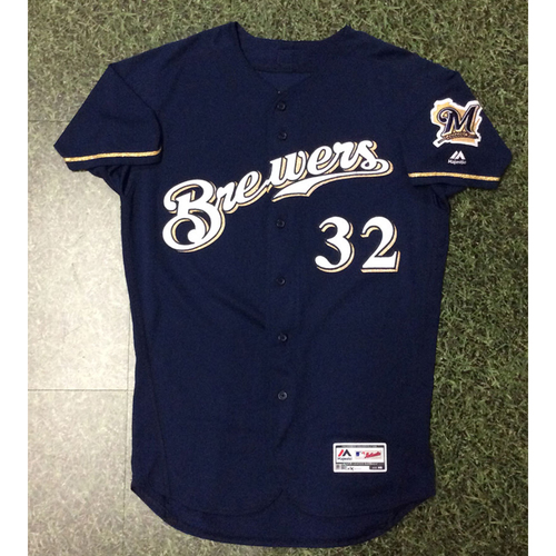 Photo of Jeremy Jeffress 09/26/18 Game-Used Navy Alternate Jersey - 13th Save of Season, Brewers Clinch Postseason Berth