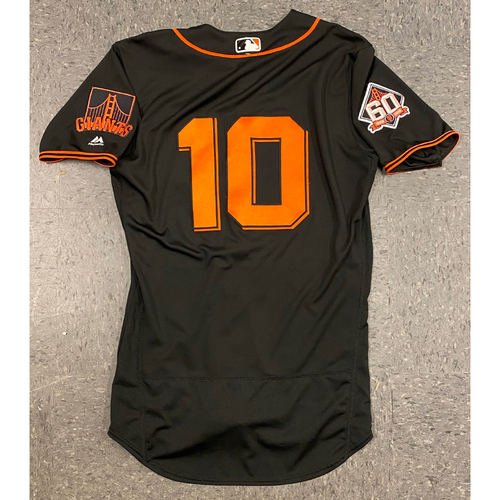 Photo of 2018 Game Used Black Home Alt Jersey worn by #10 Evan Longoria on 4/28 vs. Los Angeles Dodgers (Game 2 of Double Header) - 2-4, 2 RBI, 2B, R - Size 42