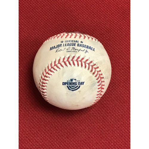 Photo of Game-Used Baseball from the Arizona Diamondbacks' Home Opener against the Los Angeles Dodgers on 7/30/20: Robbie Ray vs. Enrique Hernandez (Struck Out Swinging) and Will Smith (Ball). Baseball Features 2020 Opening Day Logo.