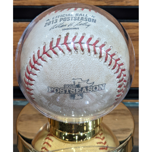 Photo of 2013 ALCS Game 1 Red Sox vs. Tigers October 12, 2013 Game Used Baseball - Lester to Iglesias - Single