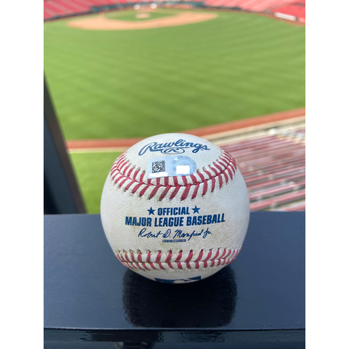 Photo of Cardinals Authentics: Game Used Pitched Baseball by Adam Wainwright to Trevor Story, Ryan McMahon, and Charlie Blackmon *Story Strike out, McMahon Single, Blackmon Ball in Dirt*