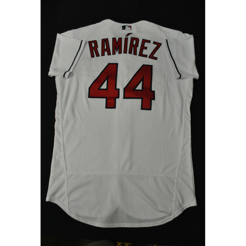 Photo of Hank Aaron Chasing the Dream Foundation: Jose Ramirez 2021 MLB All-Star Workout Day BP-Worn # 44 Jersey