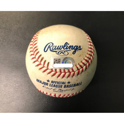 Photo of Game-Used Baseball (Finnegan to Inciarte - Single) -- Ronald Acuna Jr. MLB Debut Game -- Braves vs. Reds on April 25, 2018
