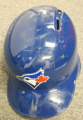 Photo of Authenticated Game Used Postseason Helmet - #19 Jose Bautista (October 4, 17 and 18, 2016: Wild Card Game and ALCS Games 3 and 4): Bautista had a Home Run in the Wild Card Game. Size 7 1/8.