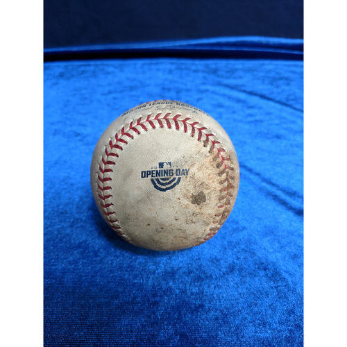 Photo of Game Used Baseball: Pitcher: Edinson Volquez, Batter: David Fletcher (Single) - 4-4-2019 vs. TEX