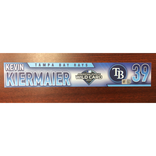 Game Used A.L. Wild Card Locker Tag: Kevin Kiermaier