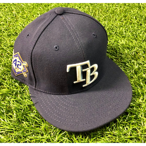 Photo of Game Used Jackie Robinson Day Cap: Kevin Kiermaier (1-1, H, R) - April 15, 2018 v PHI