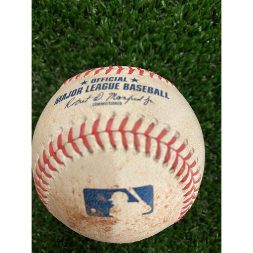 Photo of Marcell Ozuna Game Used Hit Single Baseball - August 18, 2020