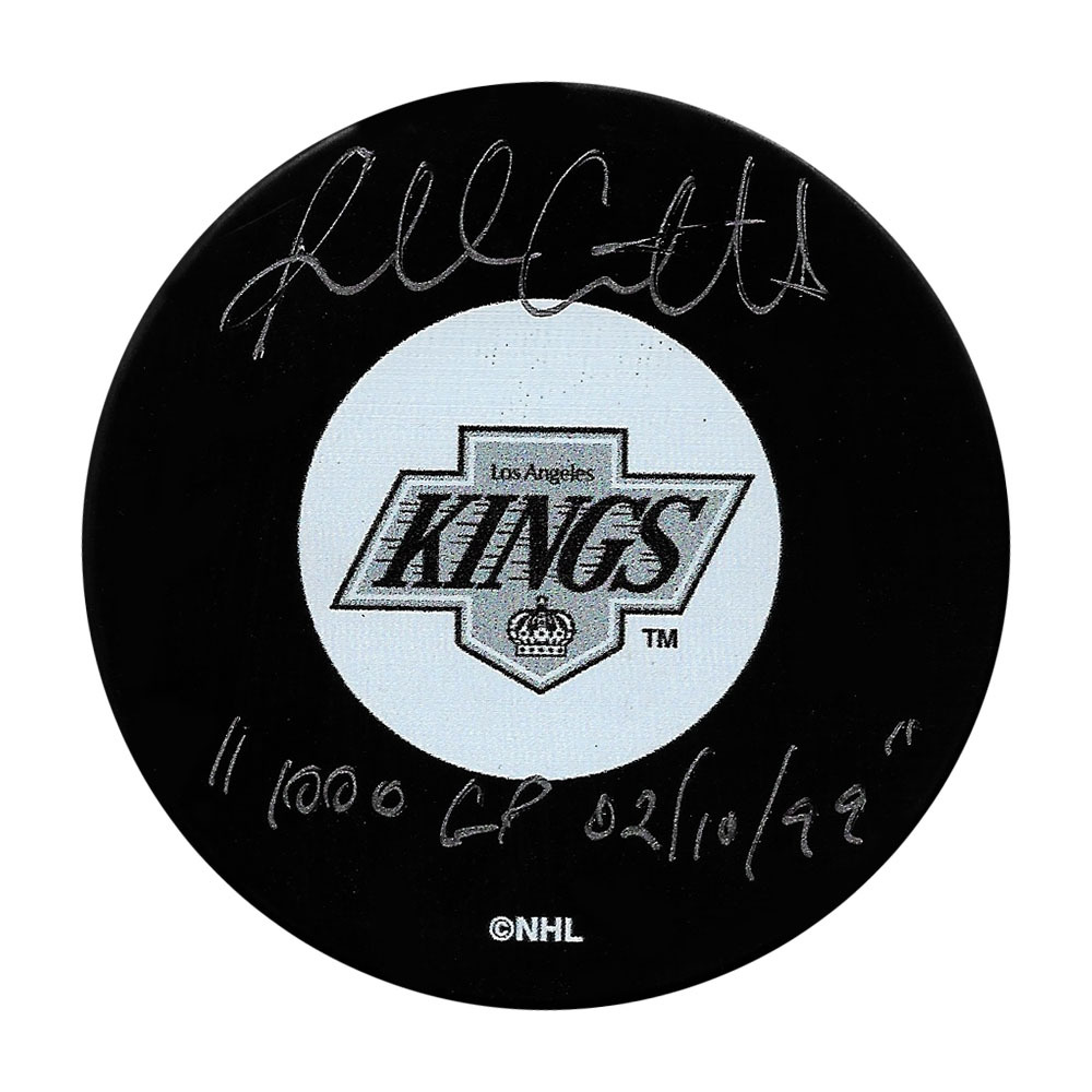 Russ Courtnall Autographed Los Angeles Kings Puck w/1,000 GP 02/10/99 Inscription