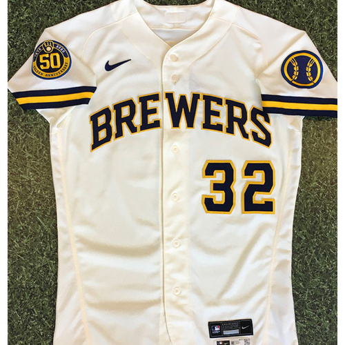 Photo of Brock Holt 2020 Team-Issued Home Cream Jersey