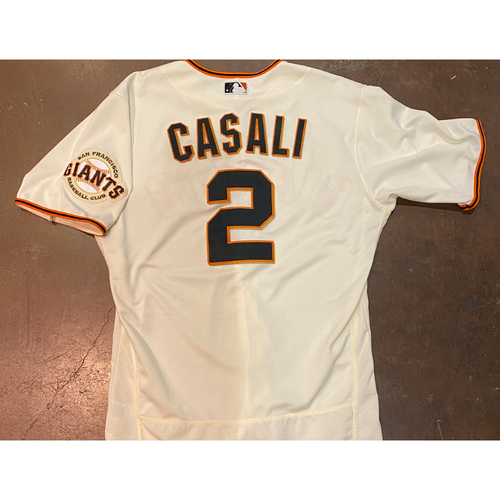Photo of 2021 Game Used Home Cream Jersey worn by #2 Curt Casali on 4/9 vs. COL - Home Opening Day, 4/11 vs. COL - 0-3, BB & 4/12 vs. CIN - Size 44